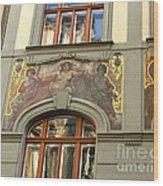 Prague - Mucha Mural Wood Print
