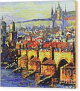 Prague Panorama Charles Bridge Wood Print