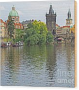 Prague Reflected Wood Print