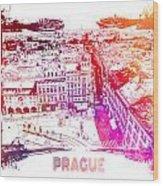Prague Skyline Panorame Wood Print