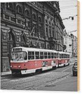 Prague Tram Vintage Wood Print