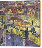 Prague Violet Panorama Night Light Charles Bridge Wood Print by Yuriy Shevchuk