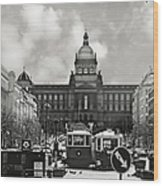 Prague Wenceslas Square And National Museum Wood Print by Christine Till