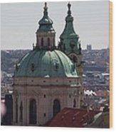 Prague With Pink Wood Print