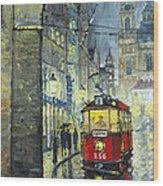 Praha Red Tram Mostecka Str  Wood Print