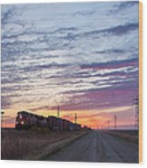 Prairie Sunrise With Train Wood Print