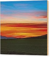 Prairie Fire Sunset Wood Print