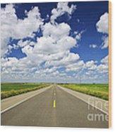 Prairie Highway Wood Print
