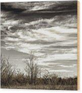 Prairie Winter Sky Wood Print