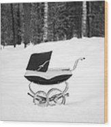 Pram In The Snow Wood Print