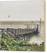 Prange Street Pier Raining Wood Print