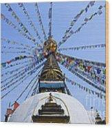 Prayer Flags And Stupa In Kathmandu Wood Print