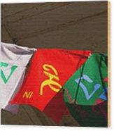 Prayer Flags Wood Print by Angela Wright