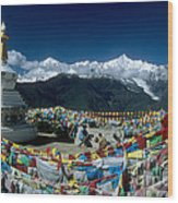 Prayer Flags In The Himalayan Mountains Wood Print