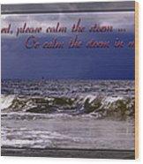 Prayer In Storm Wood Print