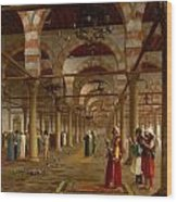 Prayer In The Mosque Wood Print by Jean-Leon Gerome