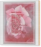 Prayer Of St. Francis And Pink Rose 2 Wood Print