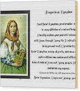 Prayer To St. Dymphna Wood Print
