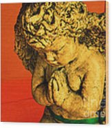 Praying Angel Wood Print by Susanne Van Hulst