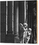 Praying Angle - Sucre Cemetery In Black And White Wood Print