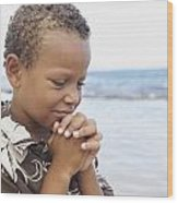 Praying Boy Wood Print