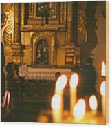 Praying By Candlelight Wood Print