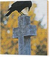 Praying Crow On Cross Wood Print