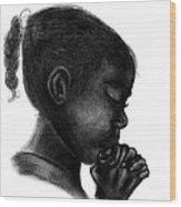Praying Firl Wood Print