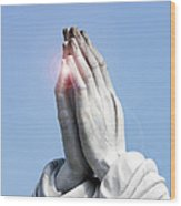 Praying Hands Lens Flare Wood Print