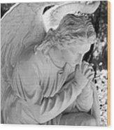 Praying Male Angel Near Infrared Black And White Wood Print