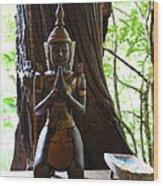 Praying Statue - Panviman Chiang Mai Spa And Resort - Chiang Mai Thailand - 01131 Wood Print by DC Photographer