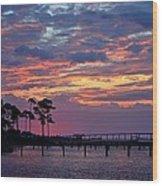 Pre-dawn Colors On Santa Rosa Sound Wood Print