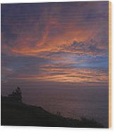 Pre Dawn Lighthouse Sentinal Wood Print