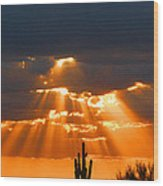 Pre Sunset Sky With Saguaro Wood Print