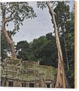 Preah Khantemple At Angkor Wat Wood Print