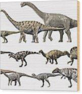 Prehistoric Era Dinosaurs Of Niger Wood Print by Nobumichi Tamura
