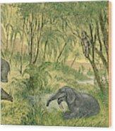 Prehistoric, Miocene Landscape Wood Print
