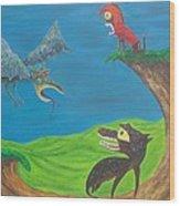 Prehistoric Pets Wood Print