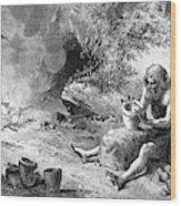 Prehistoric Potter Wood Print