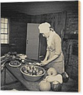 Preparing Dinner Wood Print