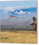 Preparing For Take Off - Paragliders Taking Off High Over Maui. Wood Print