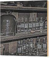Prescription Drug Bottles Black And White Wood Print