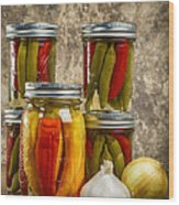 Preserved Peppers Wood Print