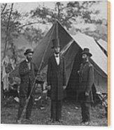President Lincoln At Antietam Wood Print