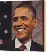 President Obama Wood Print by Mim White