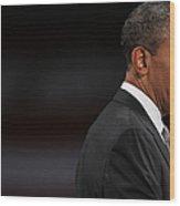 President Obama Speaks On The Economy Wood Print