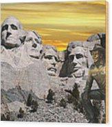President Reagan At Mount Rushmore Wood Print