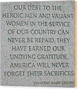 President Truman's Dedication To World War Two Vets Wood Print
