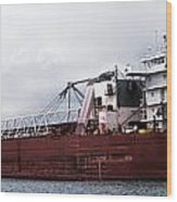 Presque Isle Freighter Wood Print