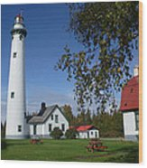 Presque Isle Mi Lighthouse 4 Wood Print
